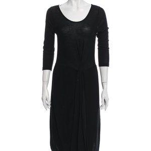 SONIA RYKIEL Scoop Neck Midi Black Wool Dress SzM